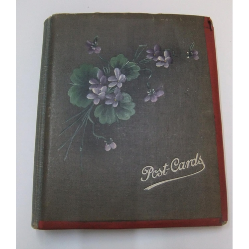 252 - Antique Post-card album with approx 120 postcards, with portrait and topographical postcards...