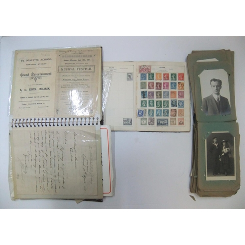 254 - Folio of Ephemera to include - Early 20thC Post-card albums with approx 85 postcards, small stamp al...