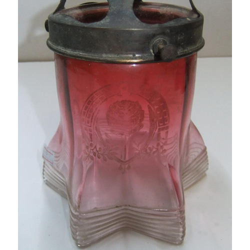293 - Antique small cranberry glass lampshade with metal rimmed surround  16 x 13 cm  No chips or cracks...