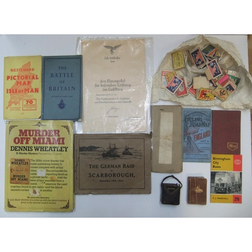 243 - Collection of ephemera to include antique miniature dictionary, antique miniature bible, collection ...