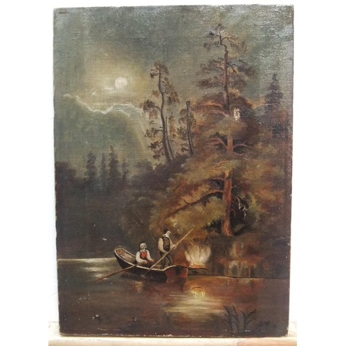 410 - Unsigned, 19thC oil on canvas painting of 2 figures in a boat, unframed,  33 x 23 cm...