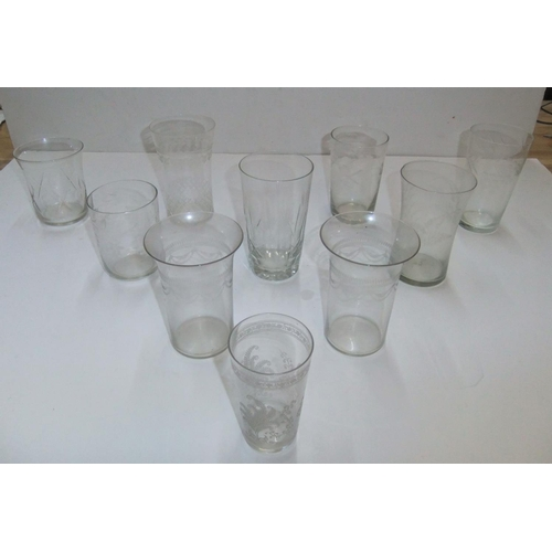 272 - Collection of 10 Victorian acid etched tumblers etc...