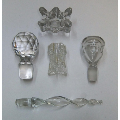 277 - 5 antique, ornate glass stoppers...