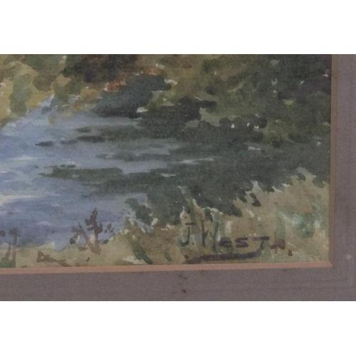 434 - Large, Joseph WEST (1882-1958) watercolour, extensive river landscape