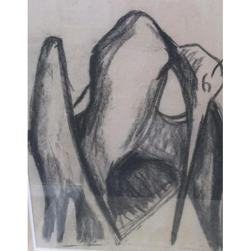 400 - Collection of 7 items (5 oils, 1 w/c & 1 charcoal drawing), mostly unframed.  Smallest 23 x 40 cm,  ...