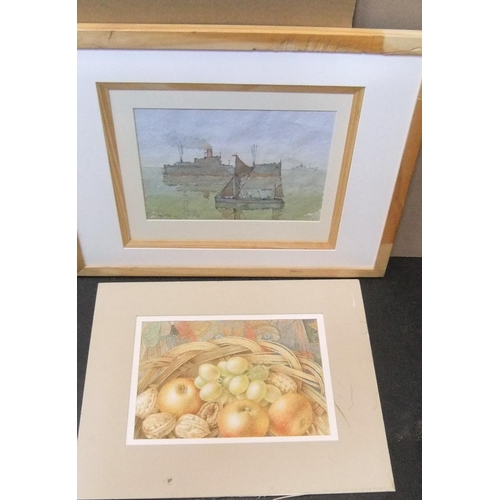 382 - Collection of 4 watercolours, 1 crystoleum & a graphite head study,  Average size is 18 x 26 cms...