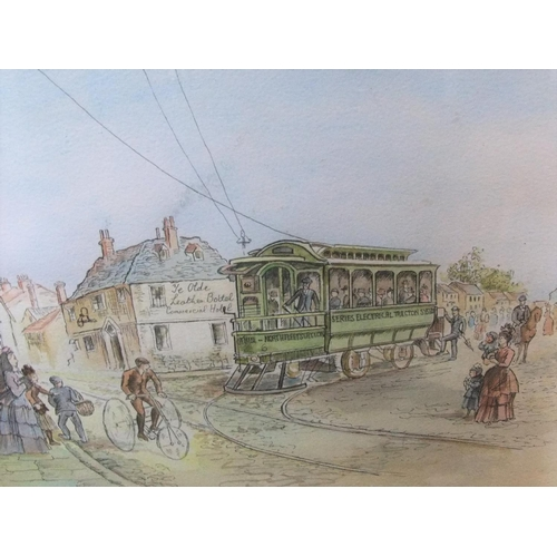 383 - 2 good framed watercolours, 1 tram scene and another of 2 calves,  Average size is 24 x 31 cm...