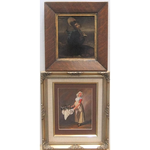 384 - 2 small, good quality female portraits, 1 a 19thC print on metal in original rosewood frame, the oth...