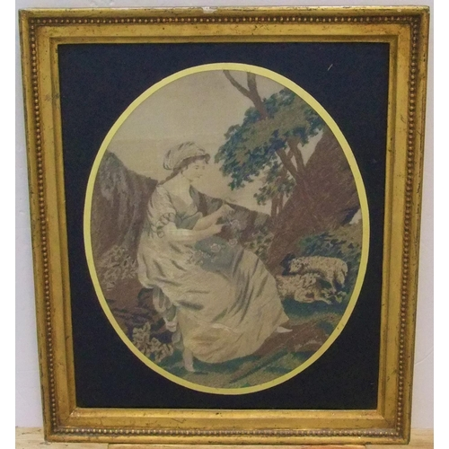 280 - Georgian woolwork tapestry in original frame & verre eglomise mount,  32 x 26 cm  Very good conditio...