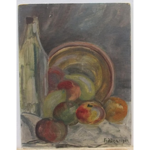 386 - Circle of Mary Fedden, still-life oil on board, unframed, bears signature,  41 x 31 cm  Untouched an...