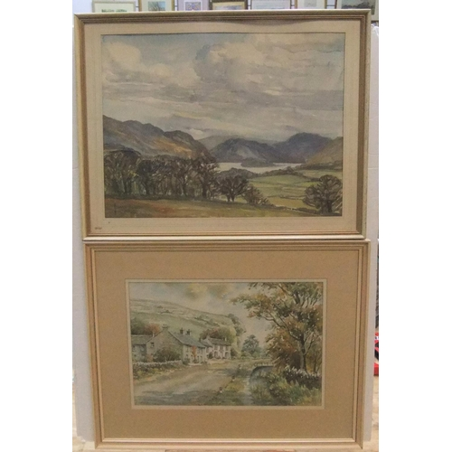 387 - 2 Lake-district watercolours, 1 by Monica Barry, the other by Anita Hall, both framed,  34 x 44 cm a...