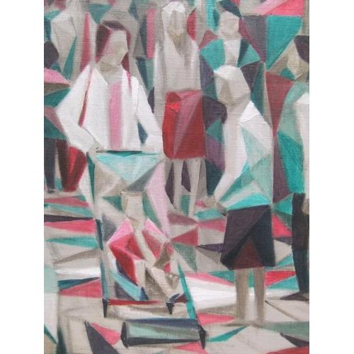 388 - Large Nicholas Leake 2002 cubist oil