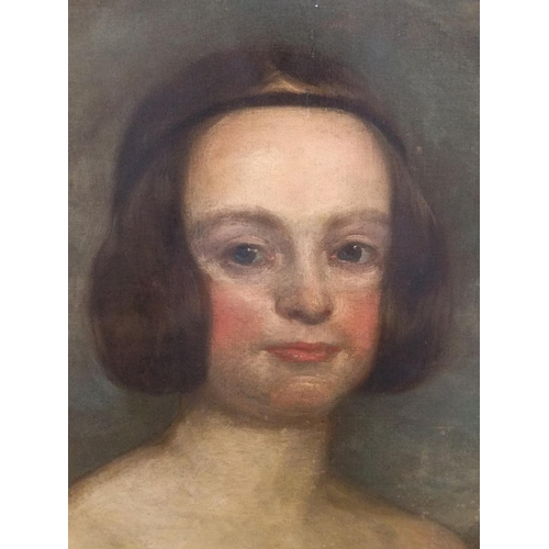 389 - Large, good quality, unsigned oil on relined canvas portrait of a mid 19thC English lady, thin wood ...