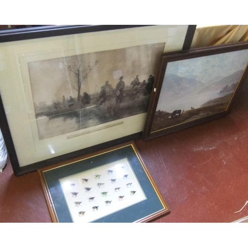 392 - 2 large framed prints & a nicely framed group of fly hooks...