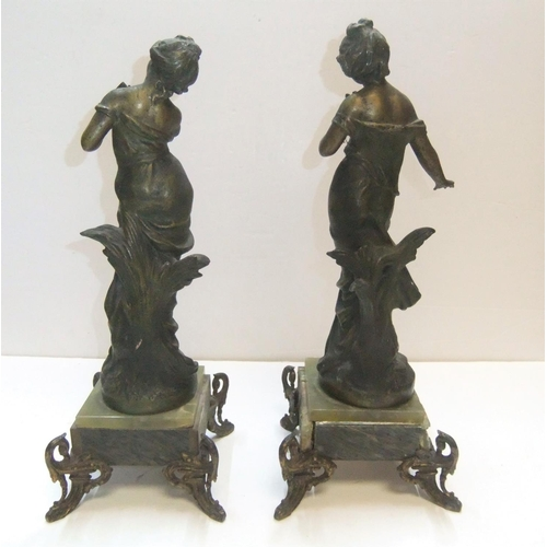 205 - Antique pair of female nymphs on onyx stands after Moreau (a/f)  Both at 39 cm high...