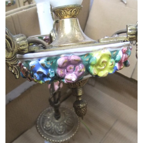 295 - Vintage 3 armed Capodimonte style light fitting in brass & porcelain....