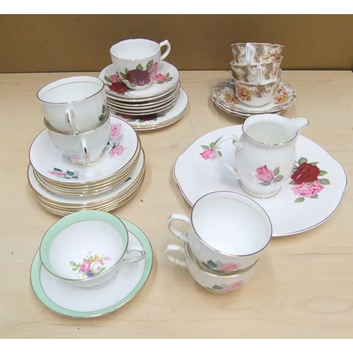 146 - Various part sets of vintage bone china tea sets - 35 items in total...