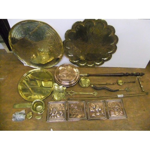 199 - Good collection of brass-ware including 3 brass hammered trays etc...