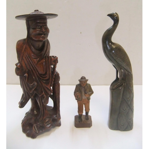 212 - Good collection of 6 antique quality collectables to include a carved Netsuke, carved figures & a br...