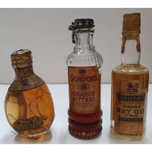 215 - 3 vintage miniature bottles of alcohol including Booths dry gin, Gordons orange bitters and Dimple H...