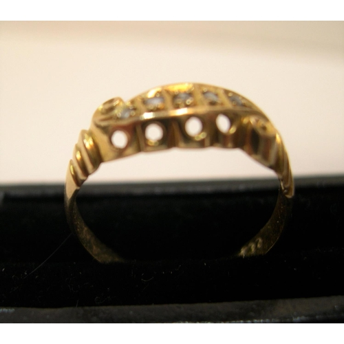 17 - 18ct yellow gold, boat shaped ring with 5 square cut diamonds  Approx 1.9 grams gross,              ...