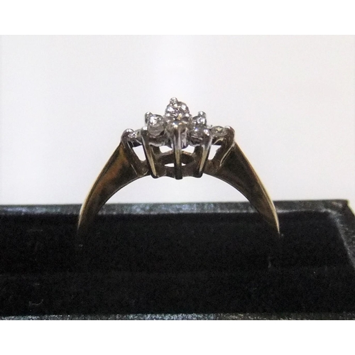 18 - 9ct yellow gold diamond cluster ring  Approx 1.4 grams gross,           size M...
