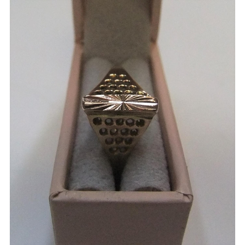 19 - Unusual 14ct rose gold ring in triangular raised form  approx 1.6 grams,               size P...
