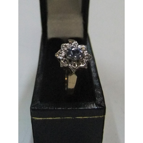 51 - 9ct yellow gold, white & blue sapphire cluster ring   Approx 1.5 grams gross,          size P...