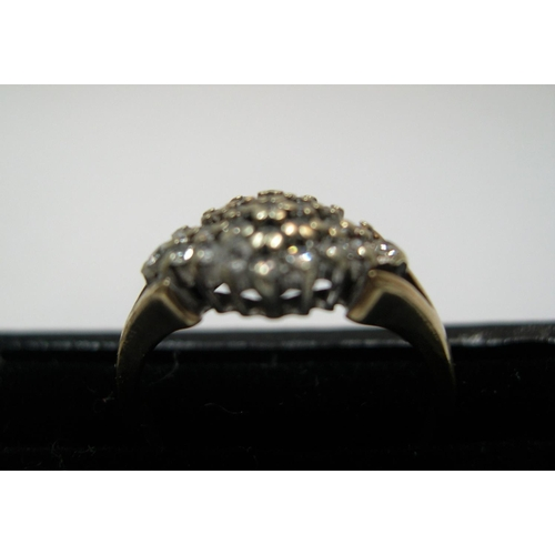 6 - 9ct yellow gold, diamond cluster ring  Approx 2.7 grams gross,          size K...