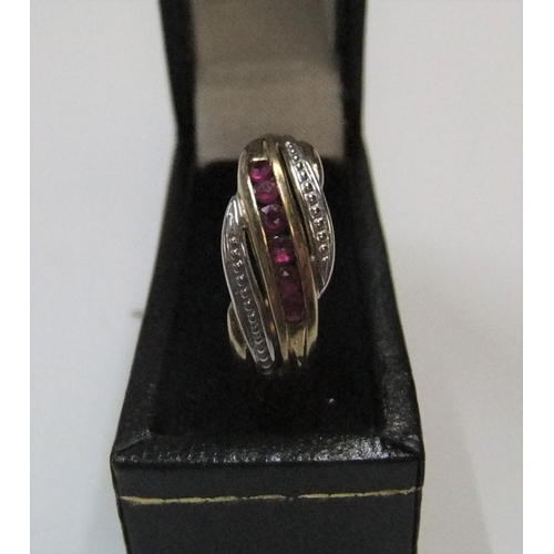 23 - Ladies 9ct yellow gold diamond & ruby ring   Approx 1.7 grams gross,          size O...
