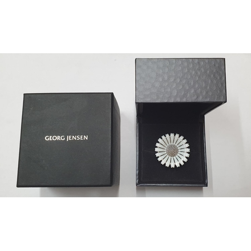 119 - Georg Jensen modern silver & enamel daisy ring with original box  Ring size M/N...