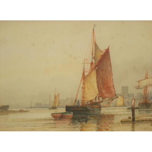 376 - Pair of Frederick James Aldridge (1850-1933) seascape watercolours, both framed and glazed.  One is ...