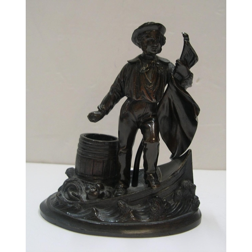 96 - Victorian bronze matchbox holder depicting a sailor at a ships bow, unsigned  13 cm high,         70...