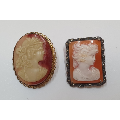 100 - 2 antique cameo brooches...