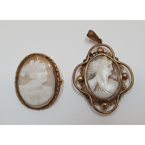 101 - 2 antique cameo brooches...