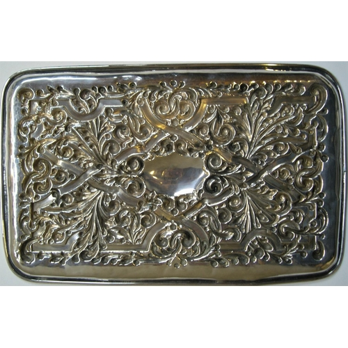 133 - ornate 1912 sterling silver tray by Williams of Birmingham  approx 254 grams,                 19 x 3...