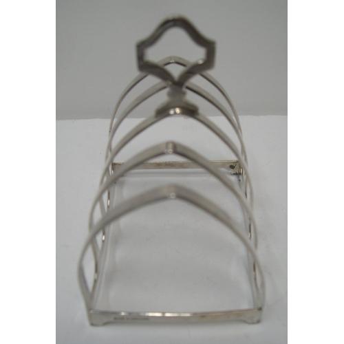 134 - 1947 Birmingham silver 4 part toast-rack  Approx 60 grams,                   8 cm long...