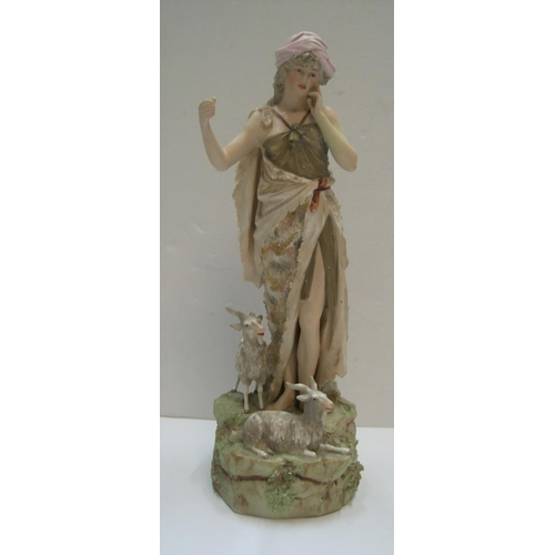 156 - Royal Dux figure, Peasant lady with goat  35 cm high  Horn on goat missing otherwise okay...
