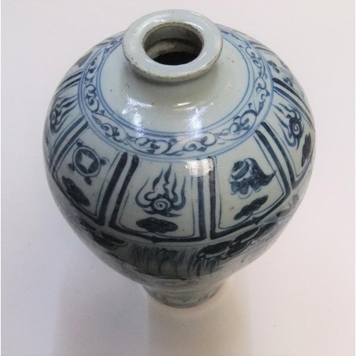 173 - Good quality Chinese B & W painted thin necked vase, unmarked  31 cm high...