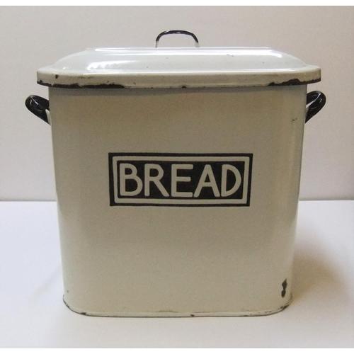 201 - Vintage metal and enamel bread bin  40 cm x 32cm...