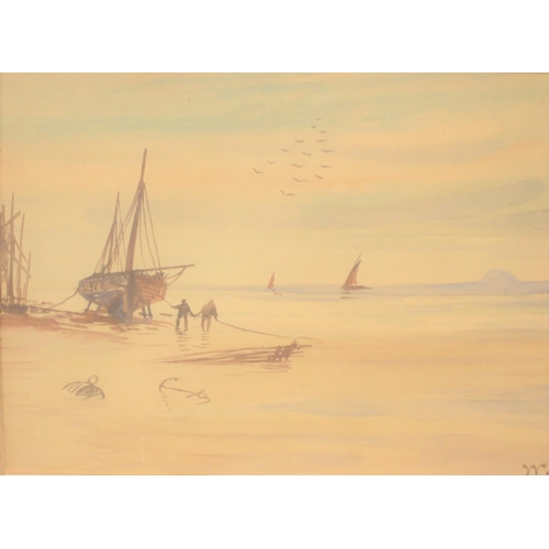379 - William Glover (1848-1916) beach scene watercolour, signed and framed  25 x 38cm...