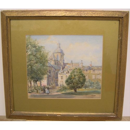 357 - Early 20thC English watercolour, figures in collage grounds, initialed MHB in original gilt mount an...