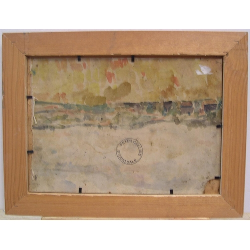 370 - Peter Collins (1923-2001) Modernist winter street scene oil on board, signed & studio stamped, wood ...