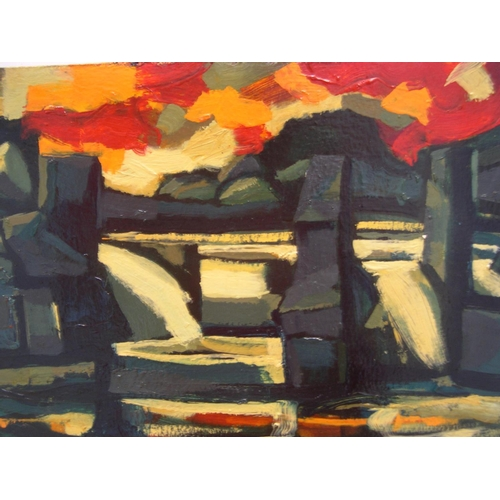 504 - Unsigned, mid 20thC French abstract oil on board