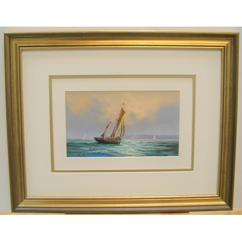 360 - David Short marine scene oil, signed and framed  13 x 23cm...