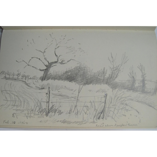 363 - Charles Franklin White (Slade school 1892-1975) sketchbook with dozens of sketches and sketching not...