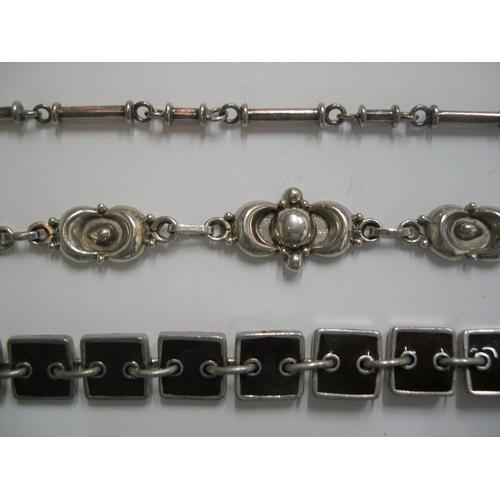 34 - 3 ladies bracelets including 2 superb silver examples & a rare Scooter of Paris enamelled Brutalist ...