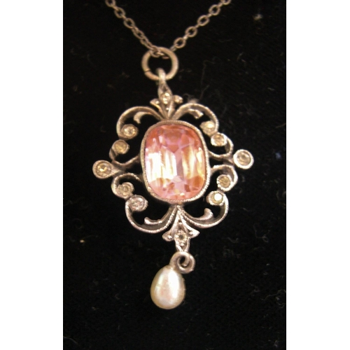 44 - Rare 1920s French rose quartz silver pendent & a vintage ladies necklace and pendant (2)...