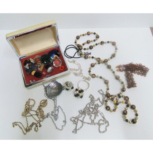 20 - Collection of costume jewellery in vintage case...