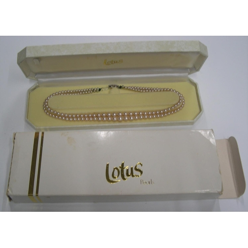 29 - 2 vintage pearl necklaces', both boxed by Lotus...